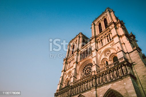 Catholic Cathedral of Paris, Notre Dame On Sunset