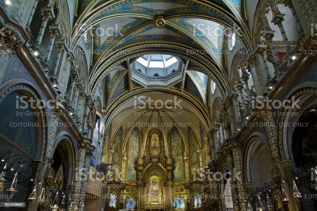 Catholic Cathedral of the Montserrat Monastery stock photo