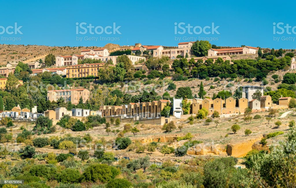 Catholic cemetery in Agrigento, Sicily, Italy stock photo