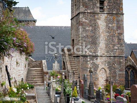 Catholic church Église Saint-Pierre and cemetery in Le Mont Saint Michelle (Normandy, France)