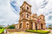Exterior view of the catholic basilica in Naranjo, Alajuela, Costa Rica
