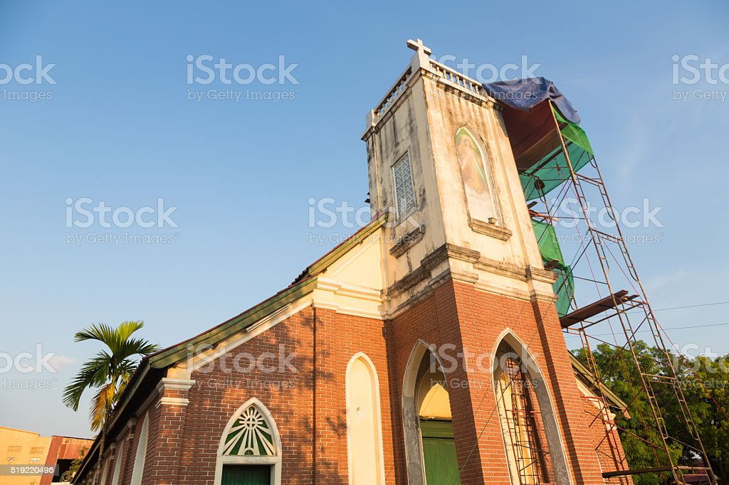 Catholic church in Pakse, Laos stock photo