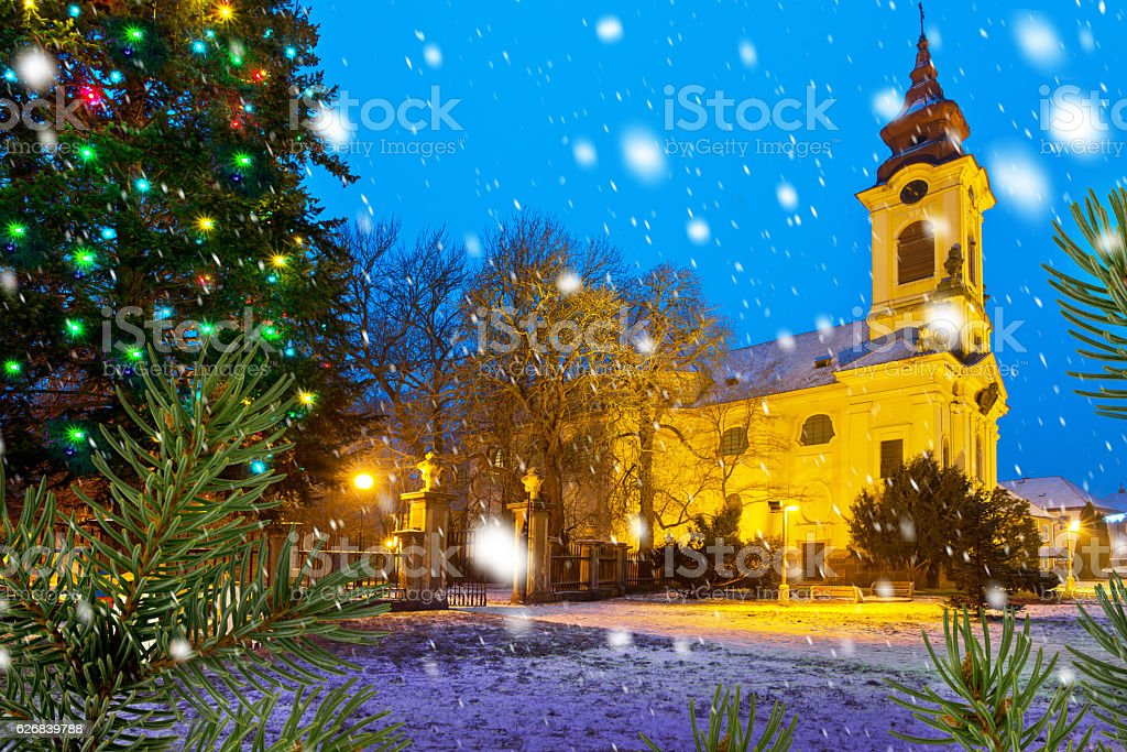 Catholic church in the Christmastime stock photo
