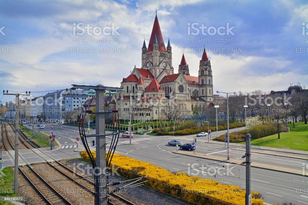 catholic church in vienna stock photo