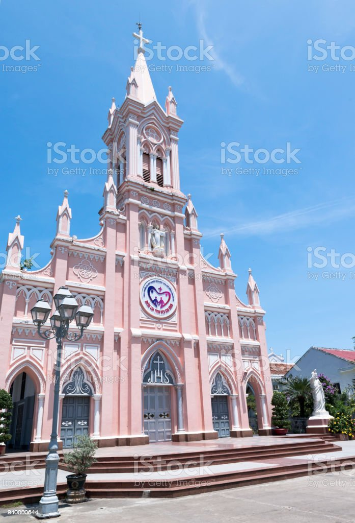 Catholic church of Danang, Vietnam stock photo
