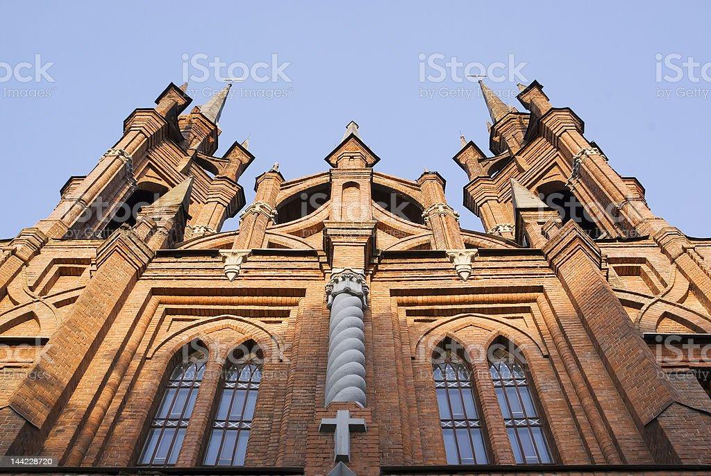 Catholic Church of red brick royalty-free stock photo
