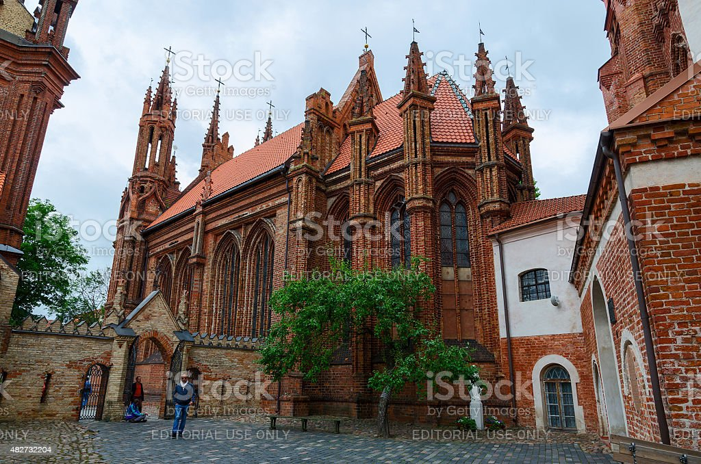 Catholic church of St. Anne, Vilnius, Lithuania stock photo