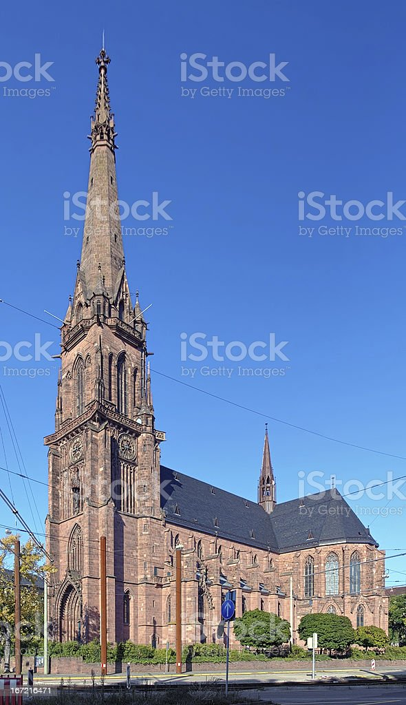 Catholic church of St. Bernard in Karlsruhe, Germany royalty-free stock photo