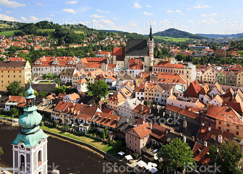Catholic church of St. Vitus (Cesky Krumlov) stock photo