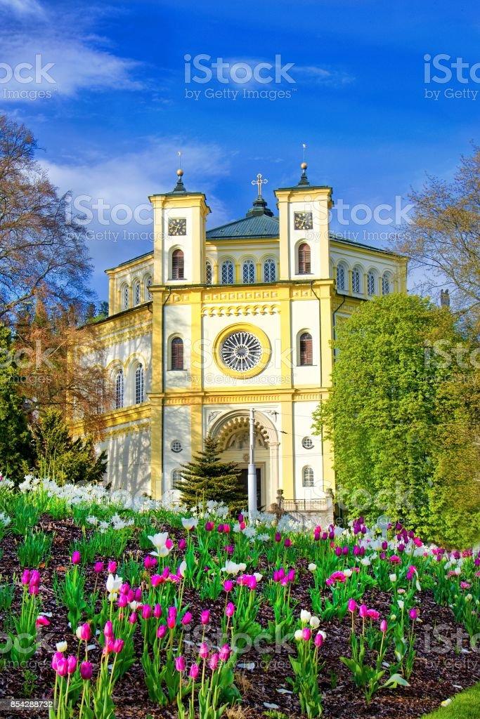 Catholic church - spa town Marianske Lazne (Marienbad) stock photo