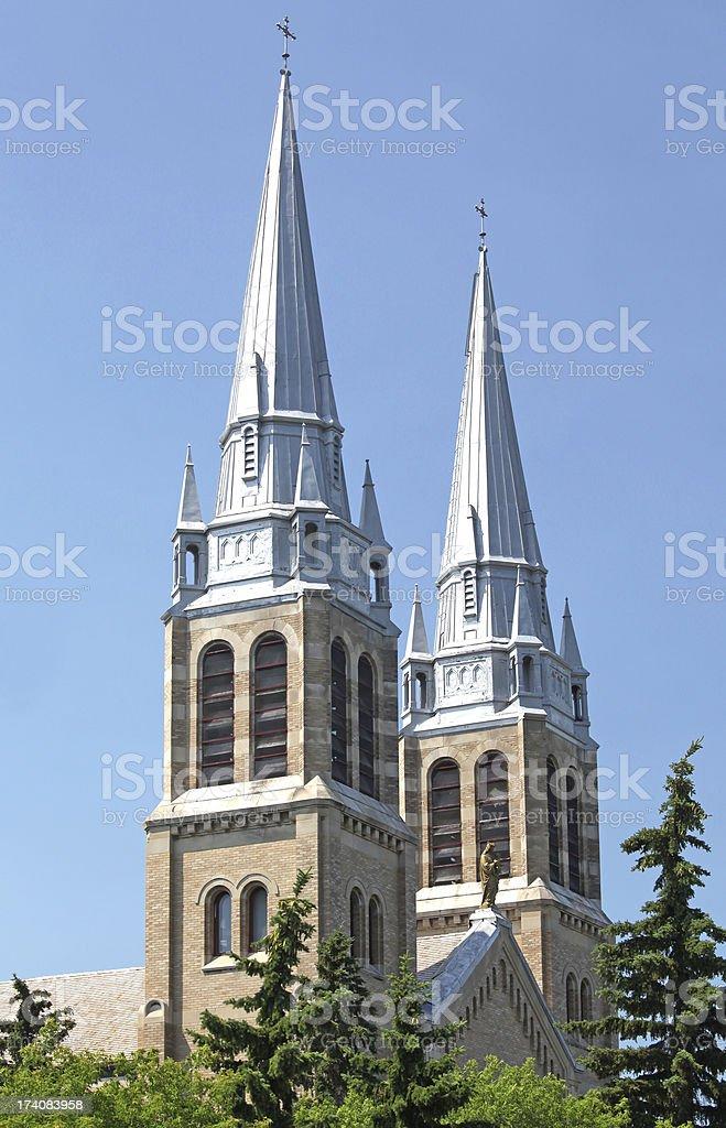 Catholic Church Steeples in Regina royalty-free stock photo
