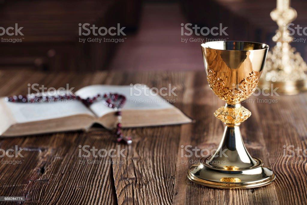 Catholic concept. Holy communion. stock photo