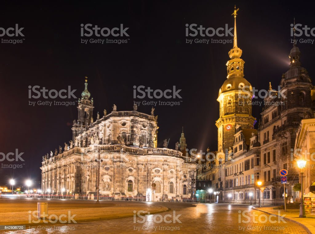 Catholic Court Church (Katholische Hofkirche) in the center of old town in Dresden in evening on lamps light. Germany, Europe stock photo