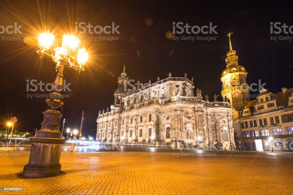 Catholic Court Church (Katholische Hofkirche) in the center of old town in Dresden  in the evening light lantern. Germany, Europe. stock photo