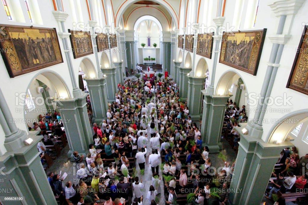 Catholic faithful celebrate Palm Sunday stock photo