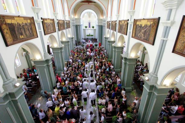 catholic faithful celebrate palm sunday - religious celebration stock photos and pictures