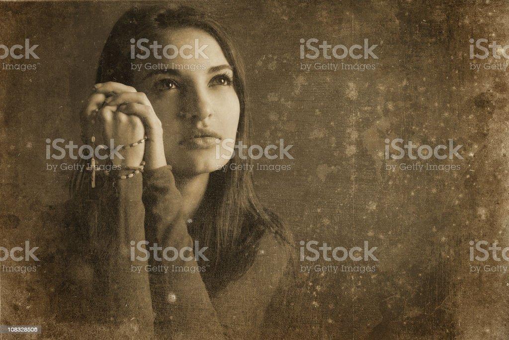 Catholic girl vintage photo royalty-free stock photo