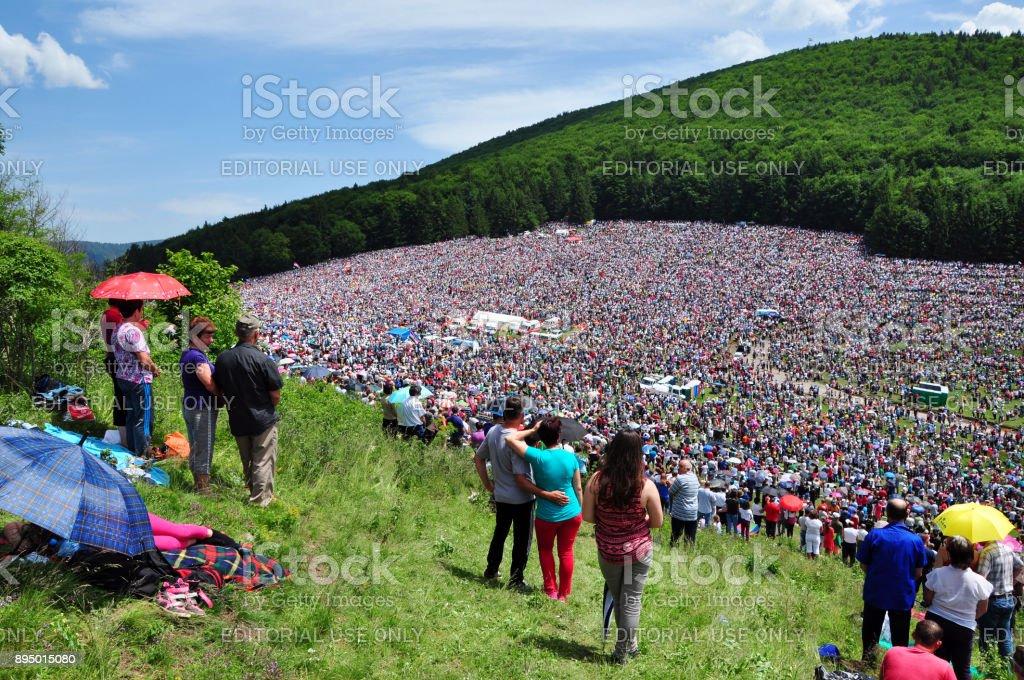 Catholic pilgrims gathering during the Pentecost stock photo