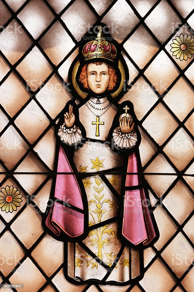 Catholic Priest Stained Glass Window stock photo