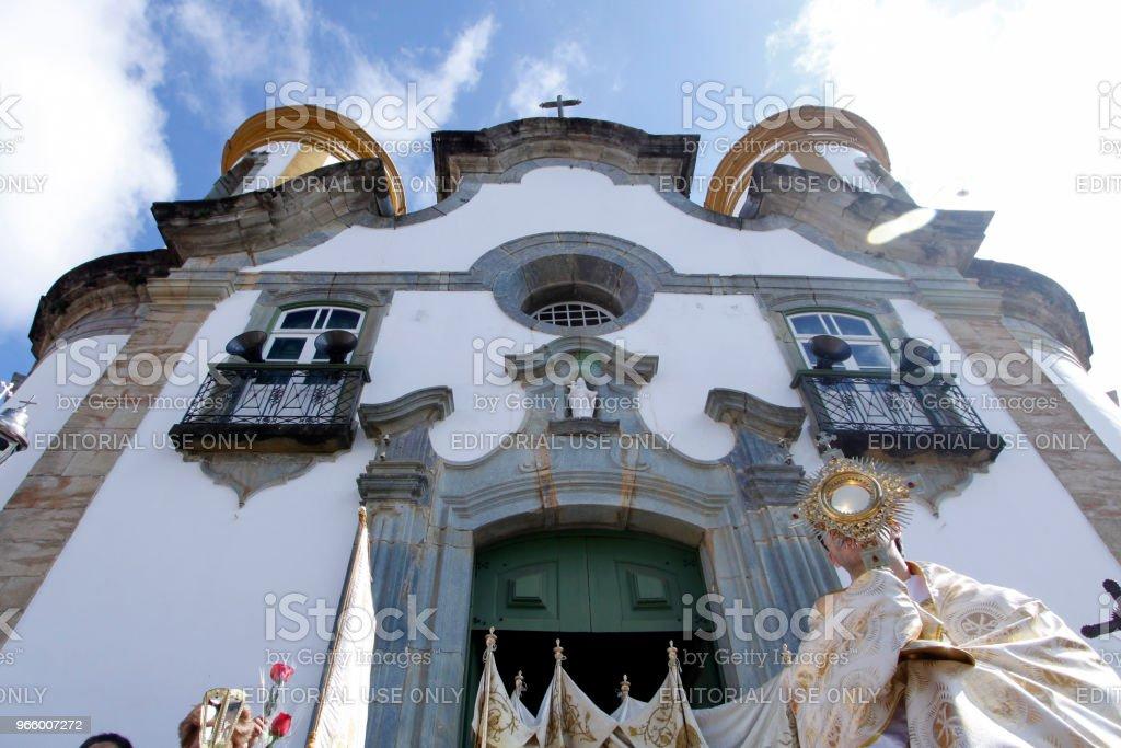 Catholics participate in the Corpus Christi procession - Royalty-free Arrangement Stock Photo