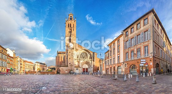 Panorama of Saint-Etienne square with Saint Stephen's Cathredal in Toulouse, France