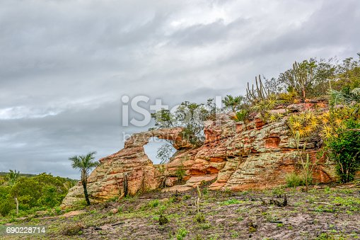 BUÍQUE, PERNAMBUCO, BRAZIL - JUNE 29, 2015: View of the rock walls and green trees  with Palm trees in Catimbau National Park in Buíque.