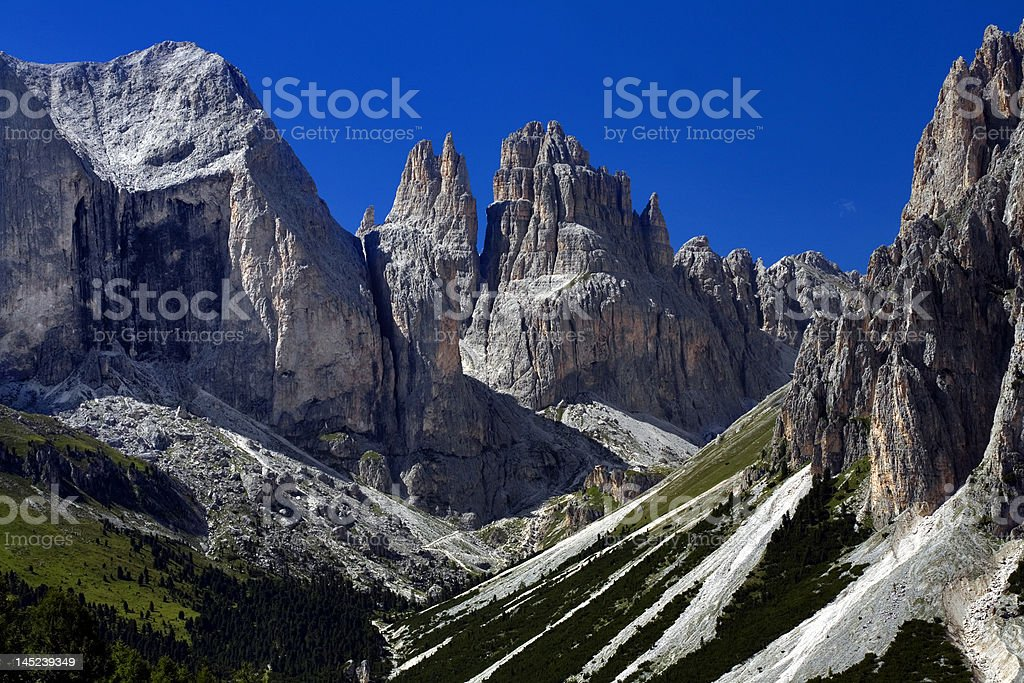 Catinaccio group and Vajolet towers from Dolomiti Italy stock photo