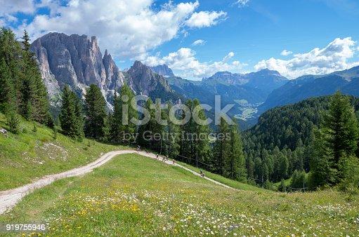 istock Catinaccio mountain massif as seen from the road to Passo Costalungo, Dolomites, Vigo di Fassa, Val di Fassa, Trentino, Alto Adige, South Tyrol, Italy 919755946