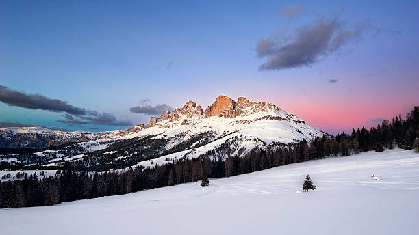 Catinaccio - Rosengarten, Dolomites, Italy Catinaccio - Rosengarten, Dolomites, Italian Alps at  twilight high seat stock pictures, royalty-free photos & images