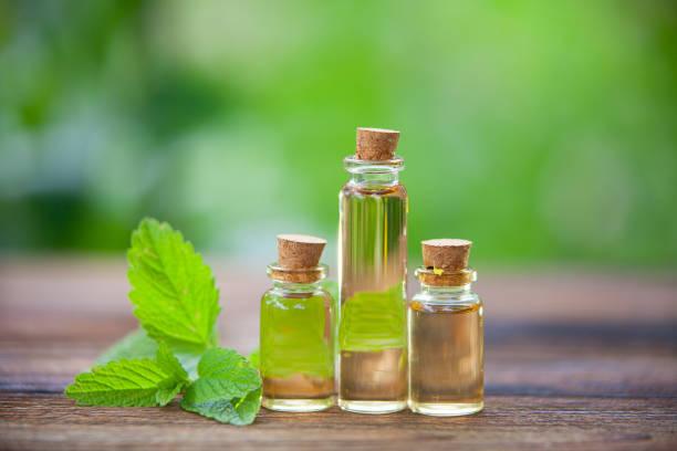 catmint essential oil in  beautiful bottle on table - oli, aromi e spezie foto e immagini stock