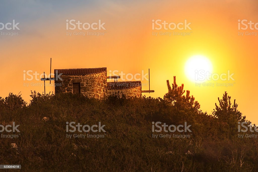 Catoira windmills at dawn stock photo