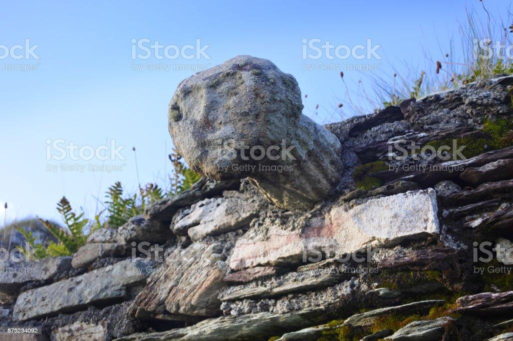 Cat's Head, Kilcatherine Cemetery, Eyeries, County Cork, Ireland stock photo