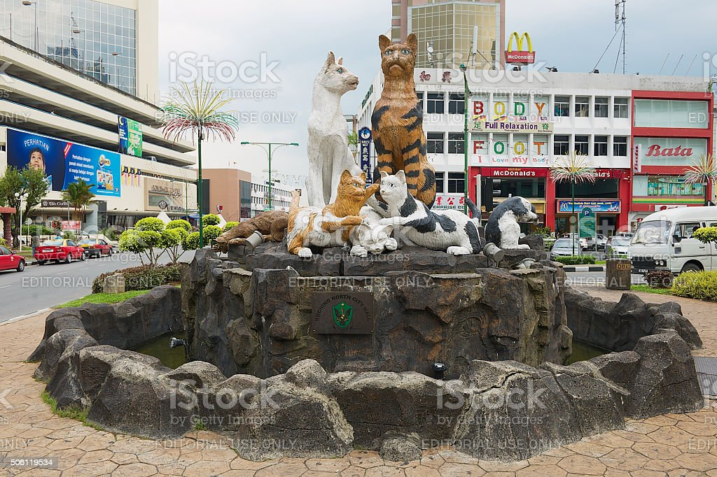 Cats monument in downtown Kuching, Malaysia. stock photo