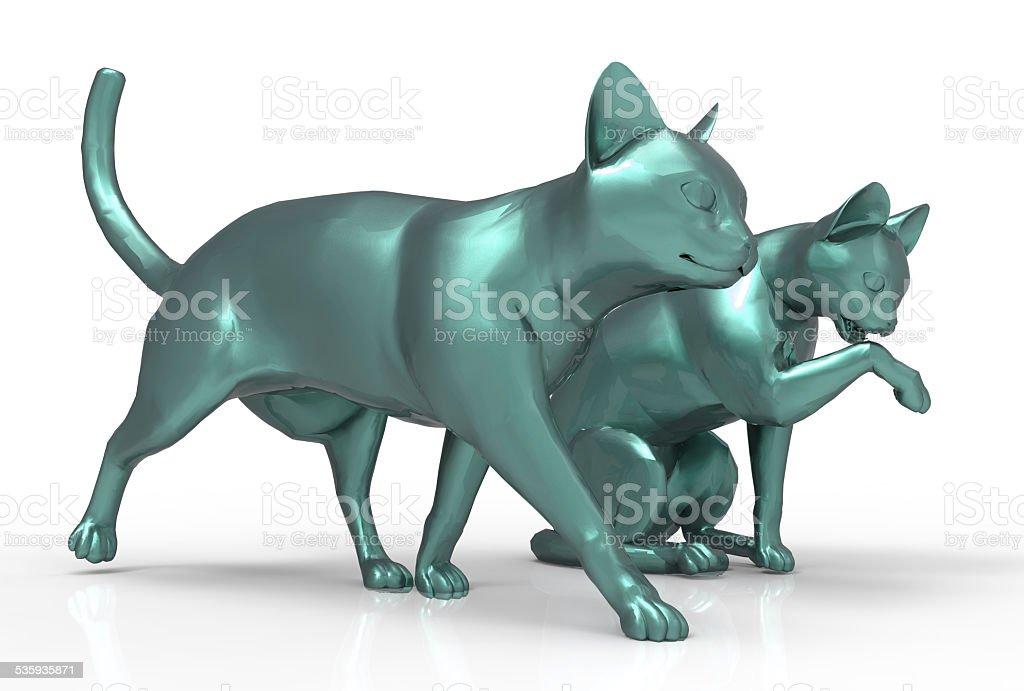 3D cats stock photo