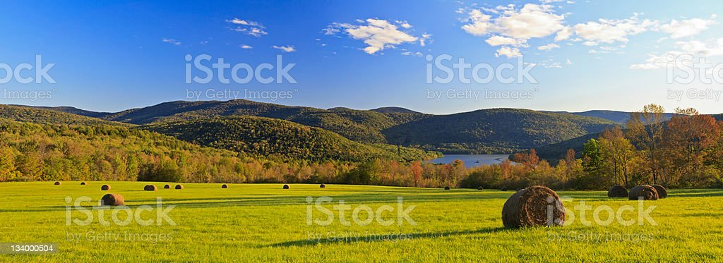 Catskills Hay Bale Panorama stock photo