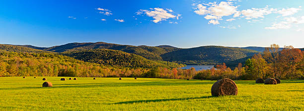Catskills Hay Bale Panorama Panorama of a field of hay bales above the Pepacton Reservoir, surrounded by the Catskills Mountains of New York. catskill mountains stock pictures, royalty-free photos & images