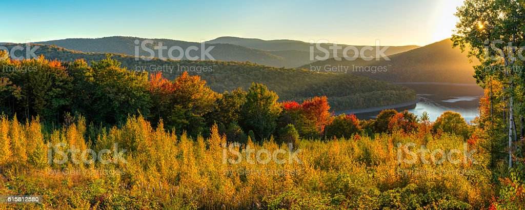 Catskills Reservoir Autumn Sunset Panorama stock photo