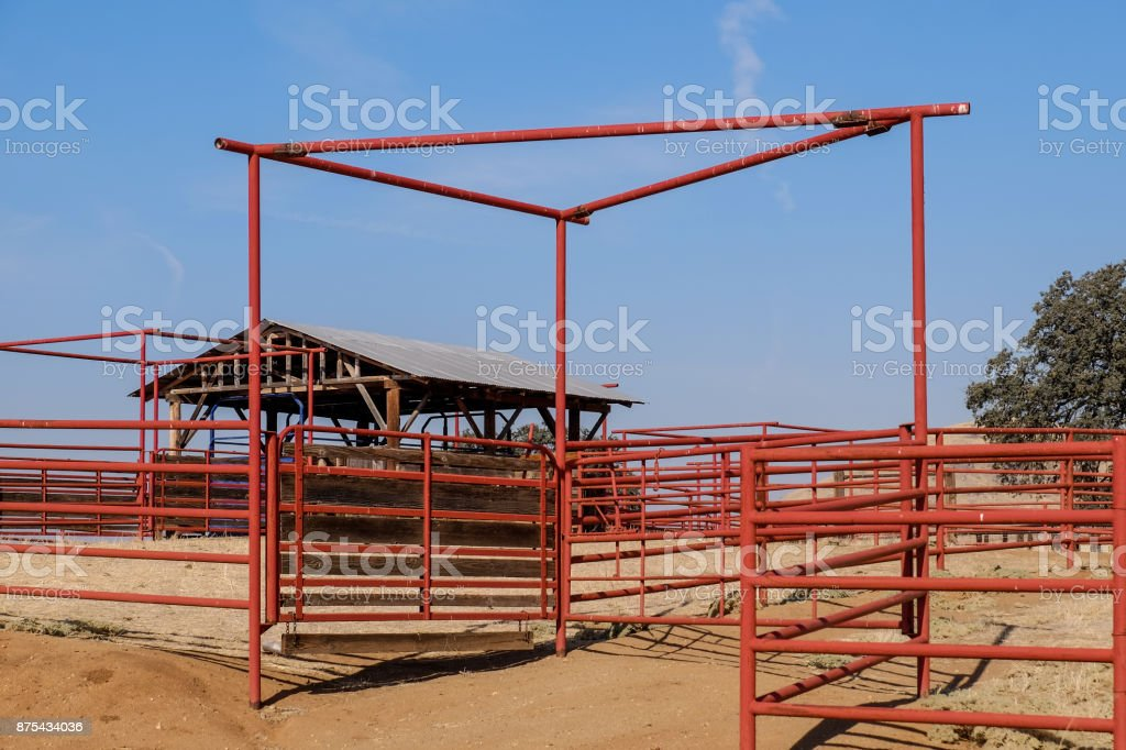Cattle Chute and Hay Barn stock photo