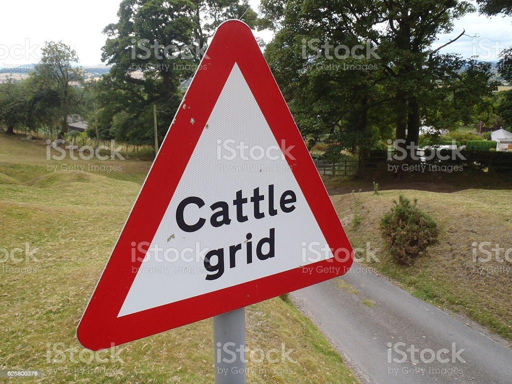 Cattle Grid Warning stock photo