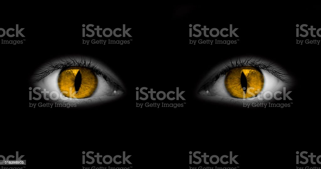 Catwoman eyes isolated on black background stock photo