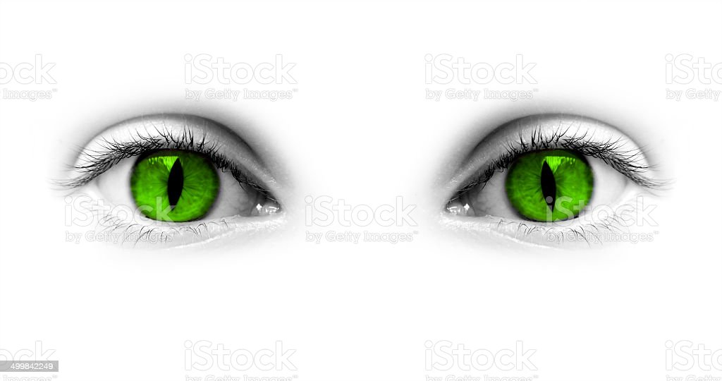 Catwoman green green isolated on white background stock photo