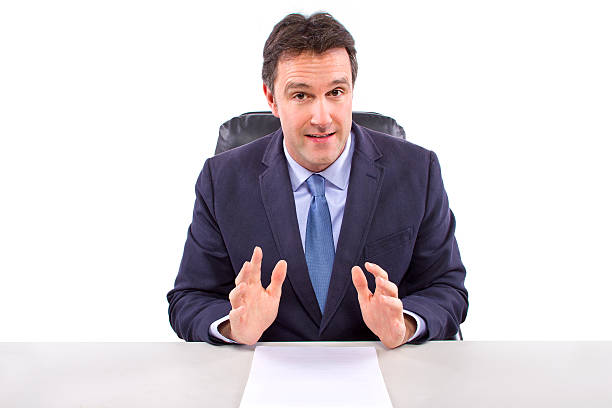 Caucasian Anchorman or Journalist on a White Background stock photo