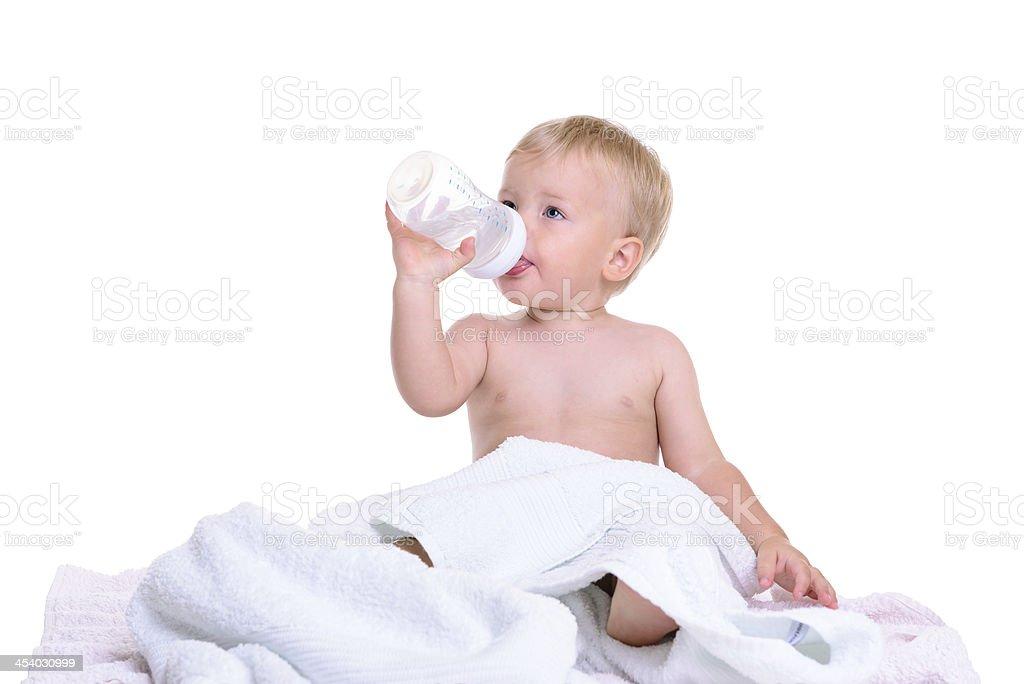 caucasian baby sitting stock photo