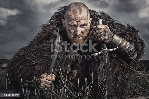 istock Caucasian Bearded Viking Man in the Dunes at Daytime 696311622
