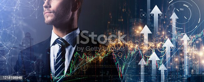 1051659174 istock photo caucasian business man standing formal shirt standing business organization startup concept double exposure digital stock market chart and arrow direction growth with dountown building city night time 1218198945