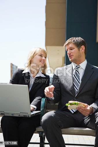istock Caucasian business people having discussion 91371396