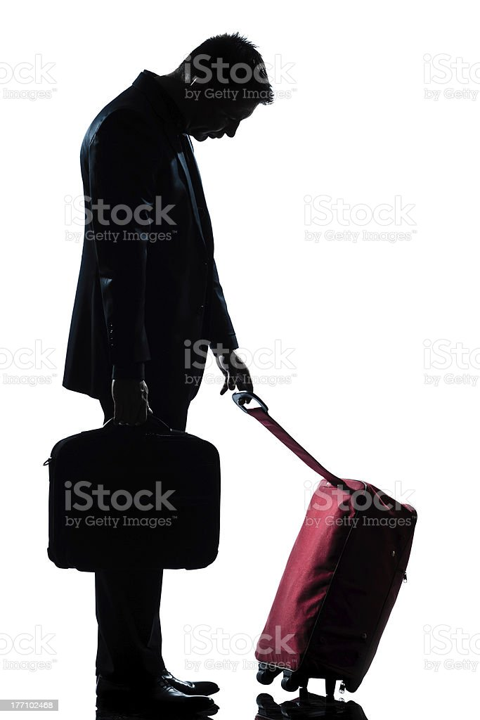 caucasian business traveler man tired with suitcase royalty-free stock photo