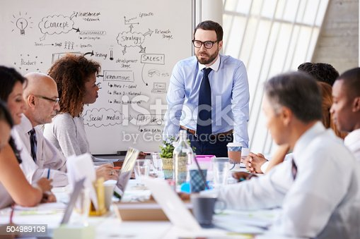 504987926 istock photo Caucasian Businessman Leading Meeting At Boardroom Table 504989108
