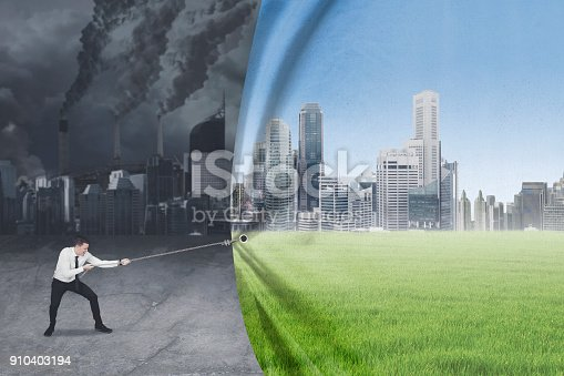 istock Caucasian businessman tries to save environment 910403194