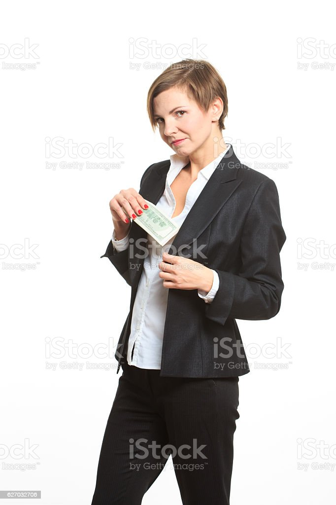 caucasian businesswoman in black suit holding money stock photo